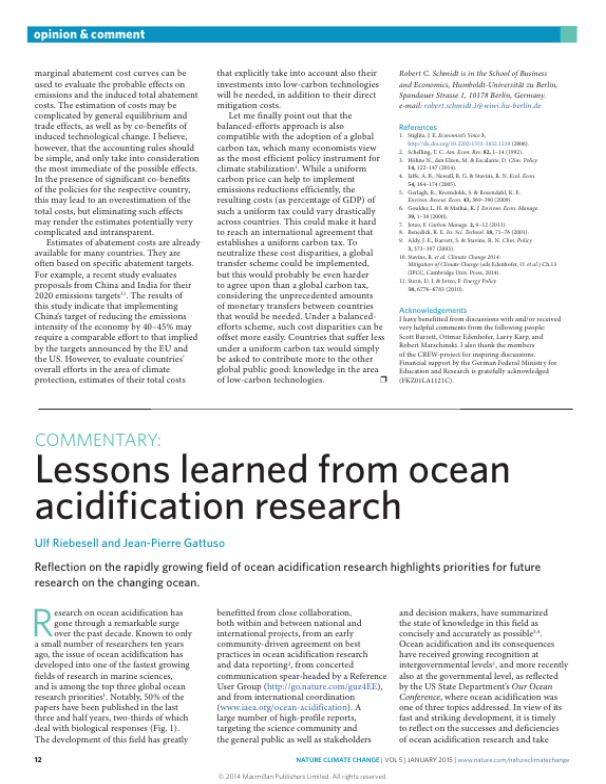 Riebesell U. & Gattuso J.-P., 2015. Lessons learned from ocean acidification research. Nature Climate Change 5:12-14.