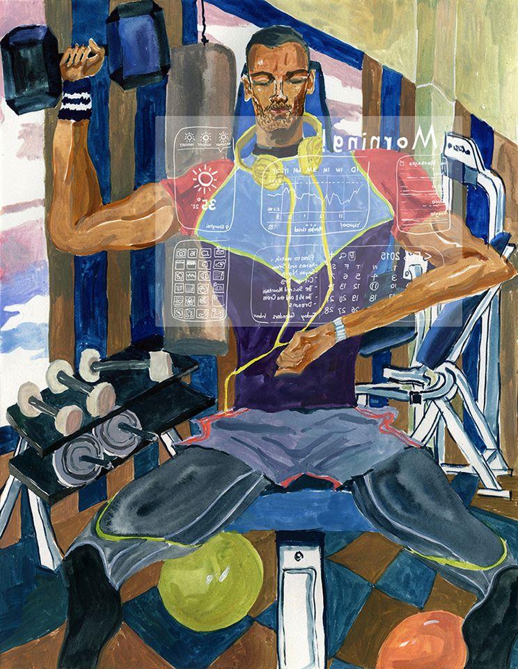 """Smart Watch,"" ELLE MEN China illustration, jiiakuann, 2015."
