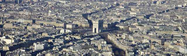View of the Arc de Triomphe from the Eiffel Tower, Paris, France.