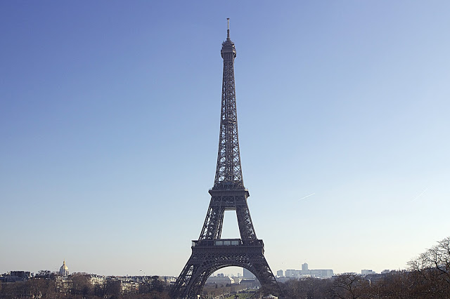 View of the Eiffel Tower from Trocadero, Paris, France.