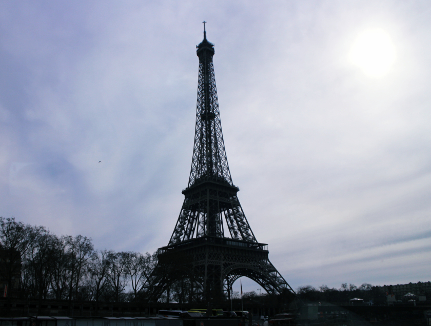 View of the Eiffel Tower from the Seine, Paris, France.