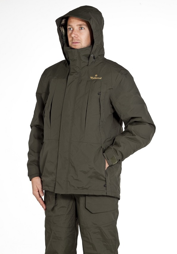 The parka worn over the bib and brace