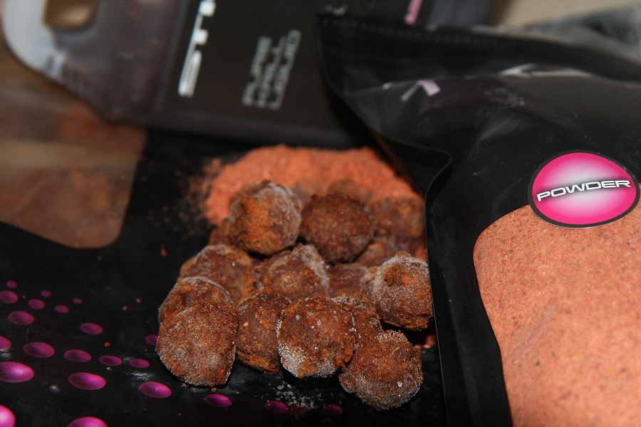 PIC 05- Krill liquid and powder was moulded around the boilies to give them added attraction.JPG