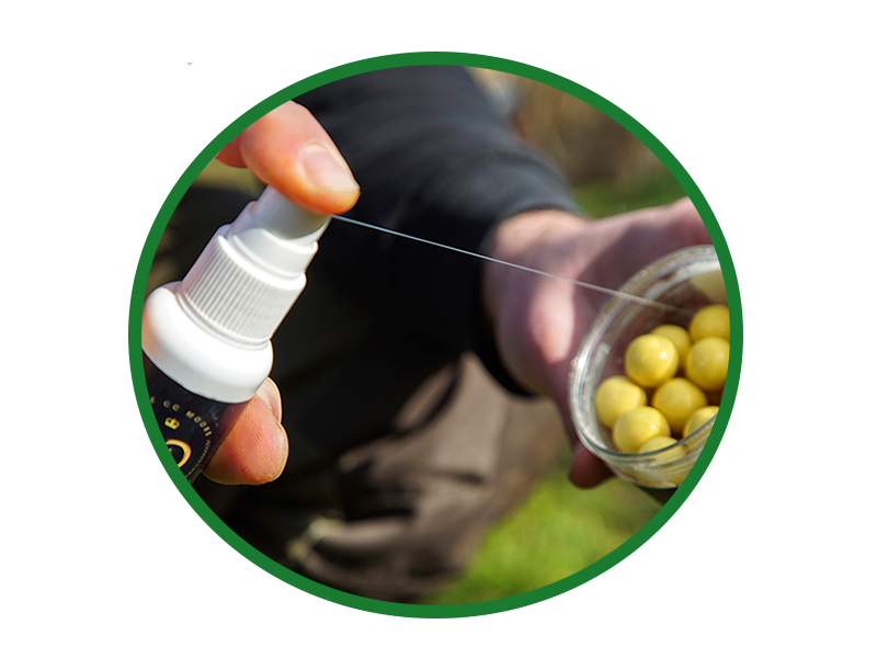 Start off by giving the baits a generous, even coating with the spray.