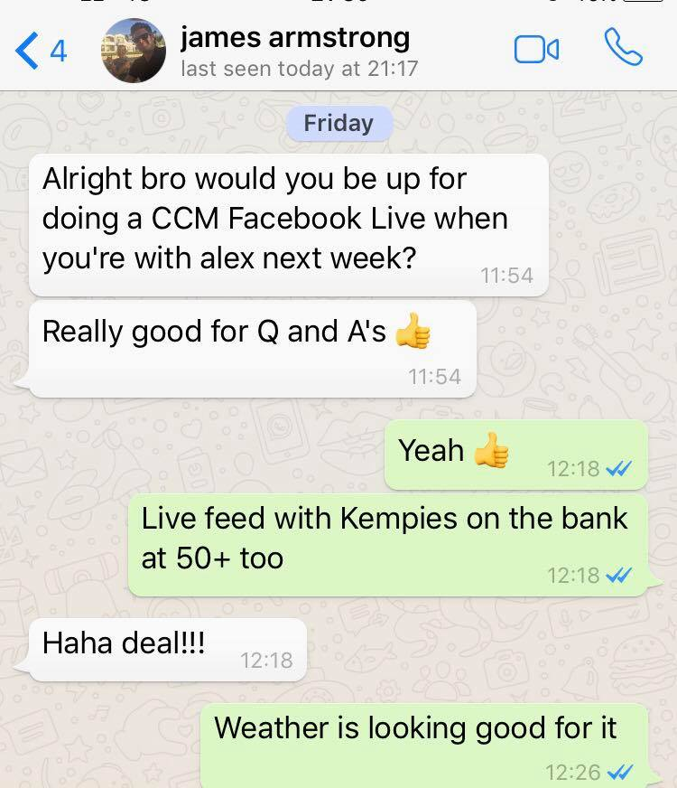 True to his word! Kev's prophetic messages to James Armstrong