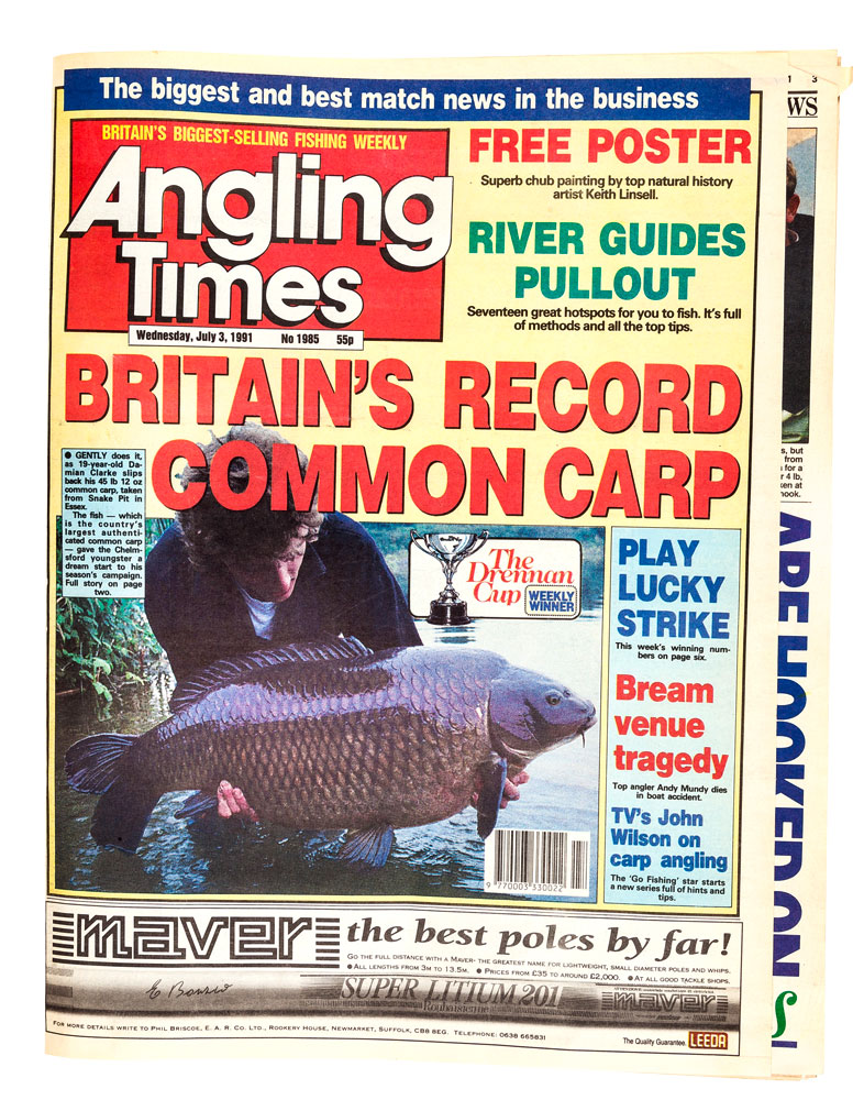 The capture made the front of Angling Times