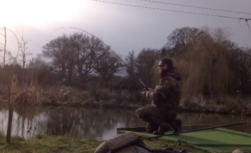 Graham bends into another dropshot carp. Click the link below for the video