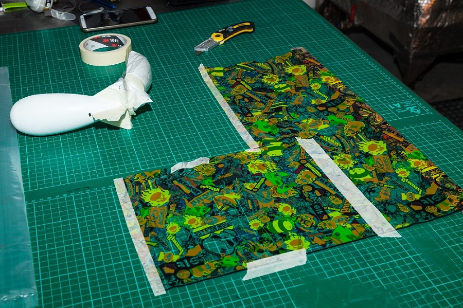The patterned sheets are cut to size