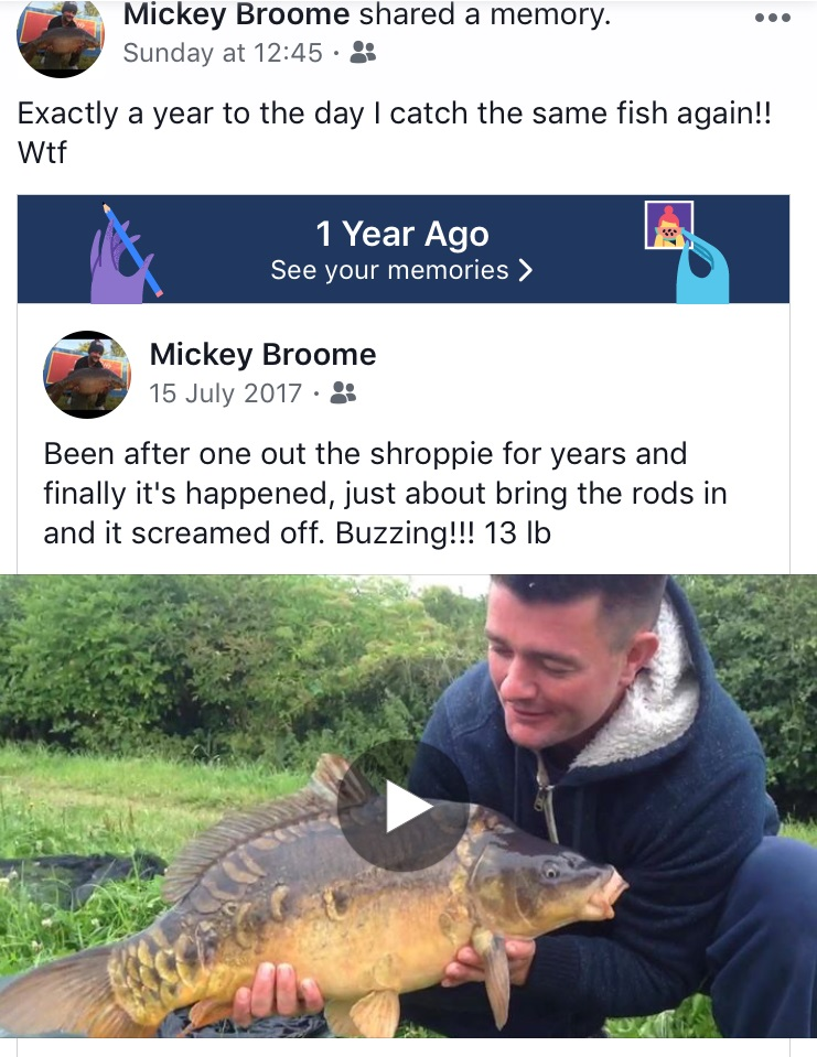 When Mickey logged on to Facebook there was a reminder of the 2017 capture