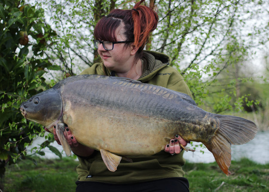 This 36lb 4oz Old Mill fish is Hannah's current mirror pb