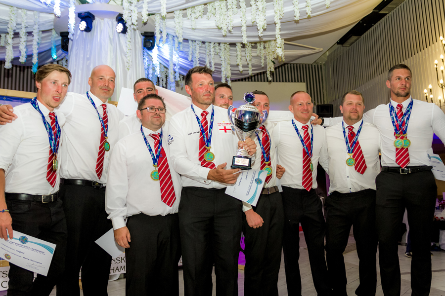 The England squad on the podium