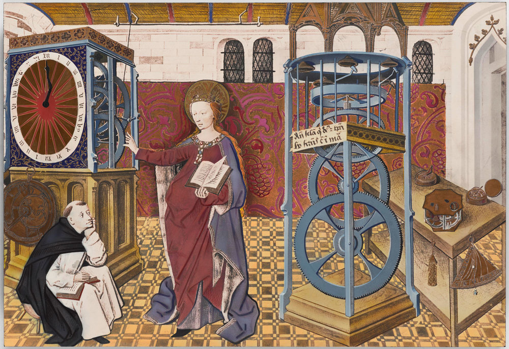 This picture from the manuscript 'The Clock of Wisdom', 1406, shows a range of timepieces, including a weight-driven clock and the oldest known image of a spring-driven table clock