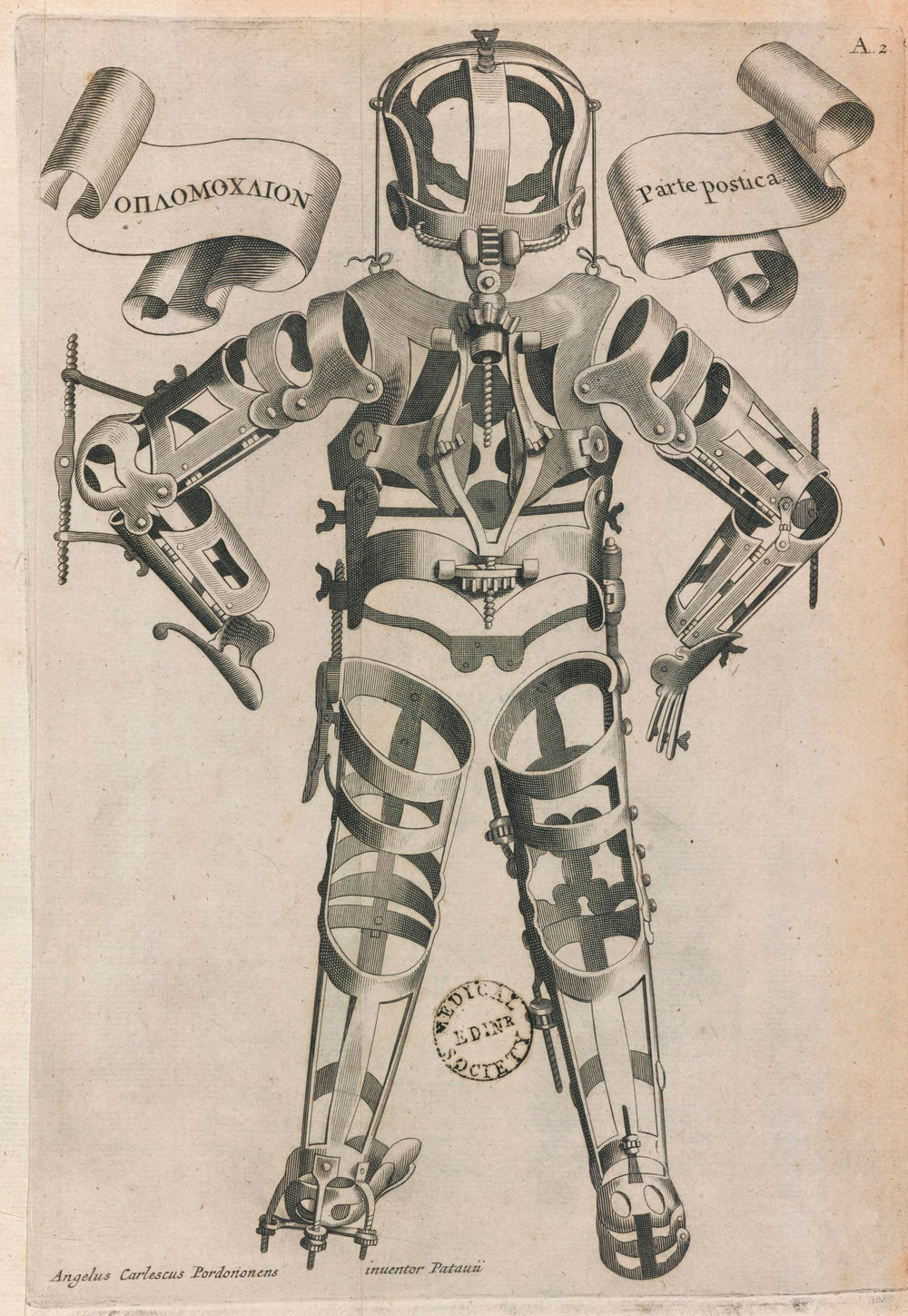 Articulated manikin from 'Opera Chirurgica', book, Padua, Italy, 1723