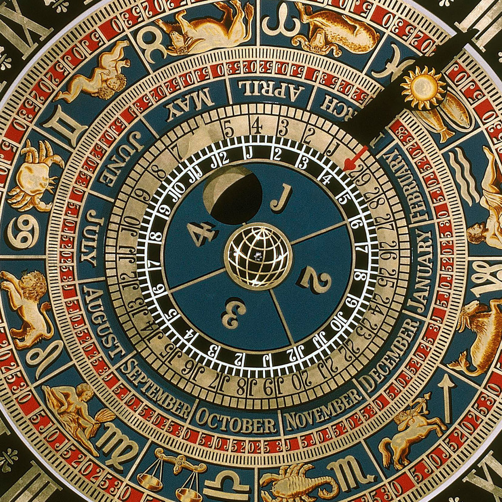 Astronomical clock dials, as built at Hampton Court Palace for King Henry VIII, UK, 1540–42 (this replica 1961–62)