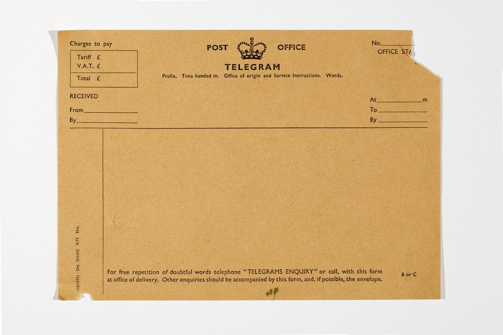 Blank Post Office telegram, circa 1970. Science Museum Group Collection