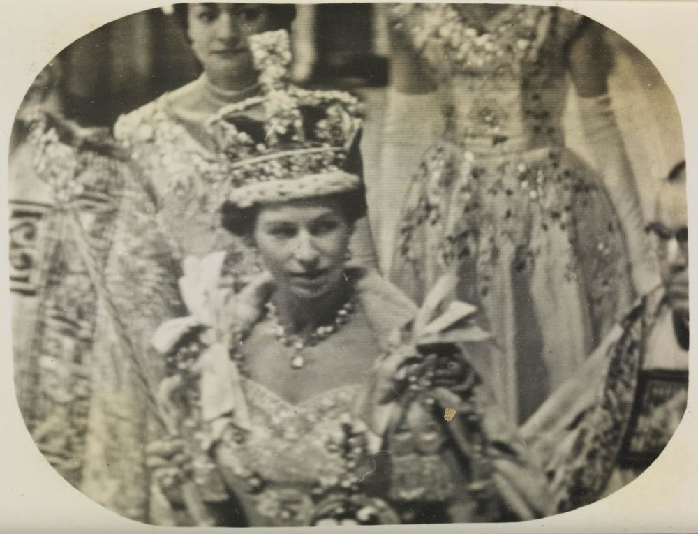 Tele-Snap (a photograph taken directly from a television screen) of the television coverage of the Coronation of Queen Elizabeth II (1953). More information
