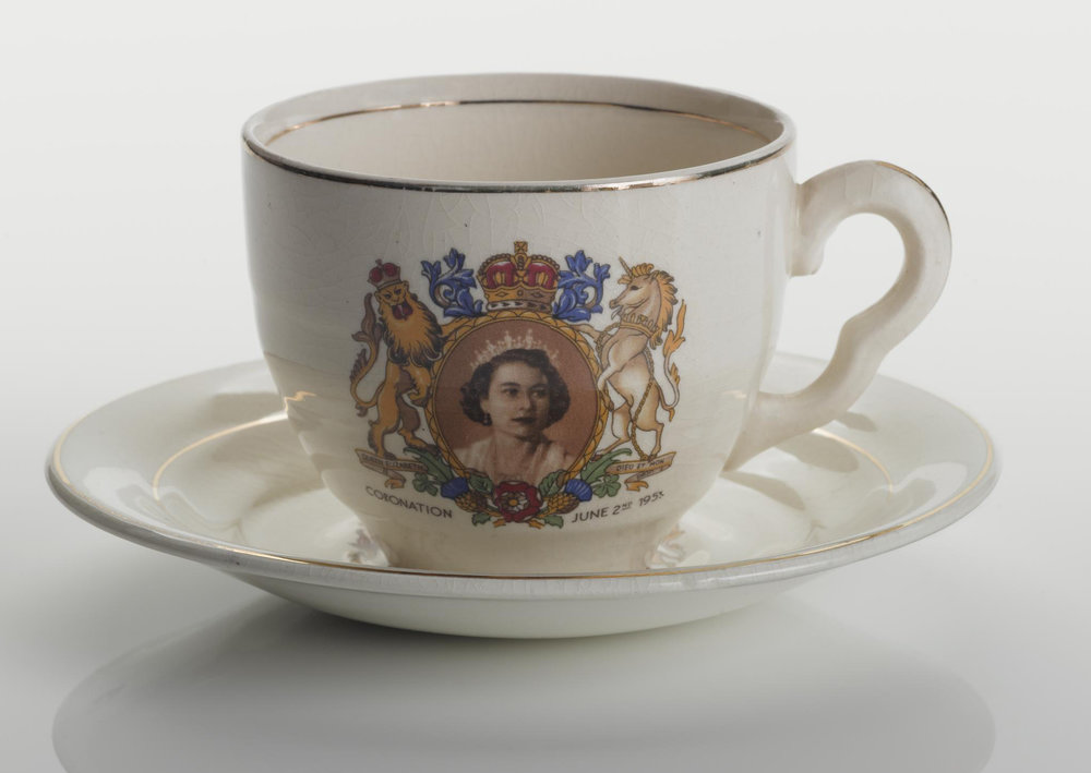 Cup and saucer designed for the Coronation of Elizabeth II, made by Staffordshire Tea Set Company Limited, Stoke-on-Trent (1953)