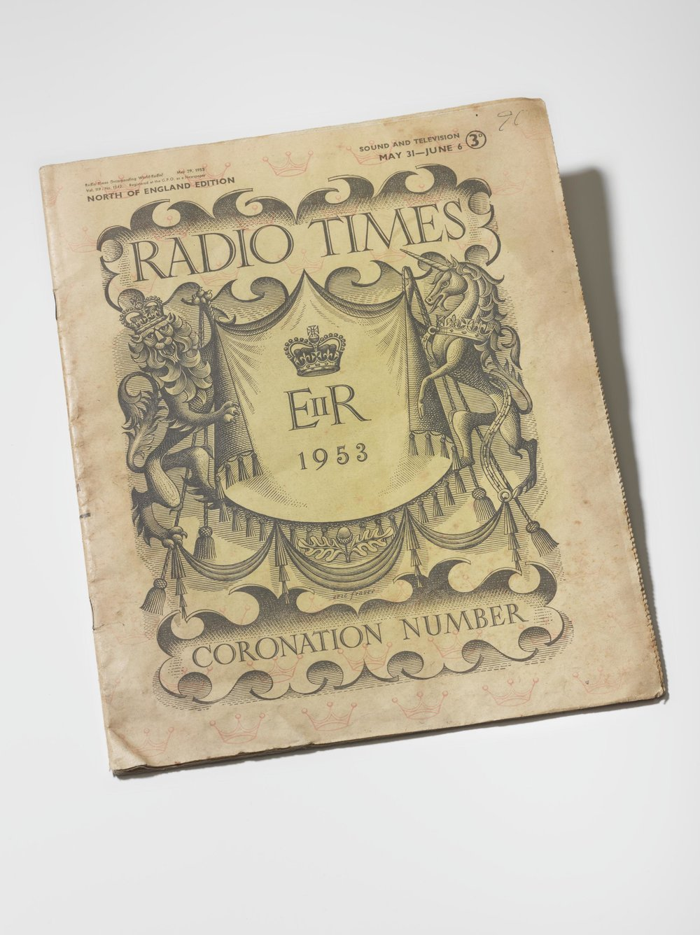 June 1953 Coronation Edition of the Radio Times, published by BBC Magazines (1953). No. 1542 Special Coronation number, North of England Edition. More information