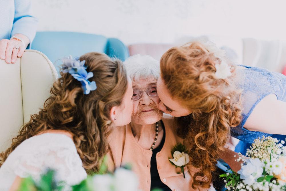 ballymagarvey wedding photographer bride kissing her grandma