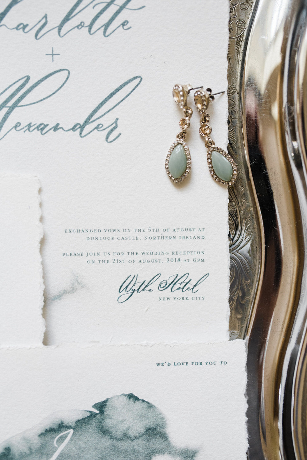 dunluce castle elopement in ireland in sage and white. minimalistic white and green stationery design wedding stationery-1.jpg