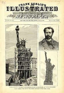 Statue of Liberty under construction, and designer Frederic Bartholdi.