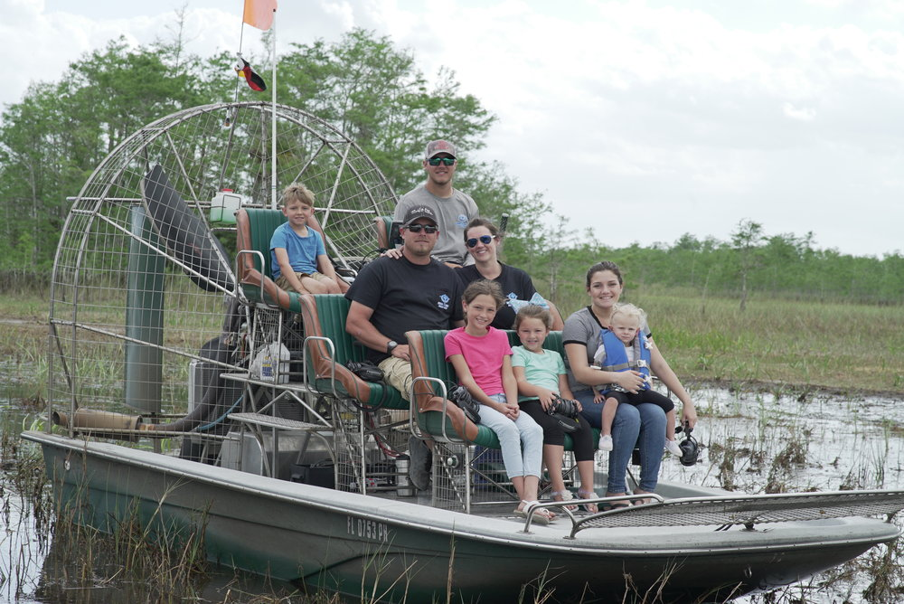 My family enjoys getting out in the Everglades. Top row: Rhiley and Alex. Middle row: Myself Gary and Casey. Bottom Row: Kaylee, Violet, Natalie and Ivory.  We are by reservation only please call or e-mail to book a tour