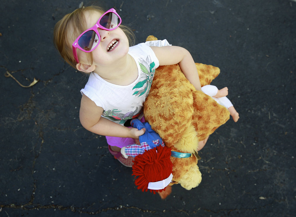 toddler holding stuffed animals in driveway penn yan new york