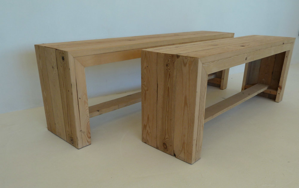 Fireside bench - wooden bench hire