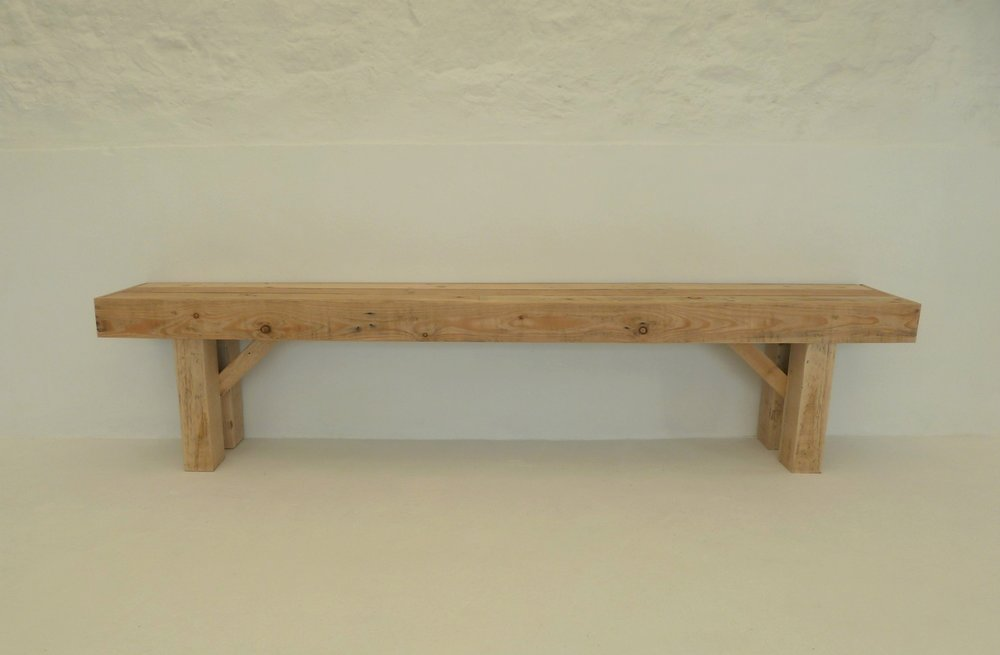 Mismatched Bench - wooden bench hire
