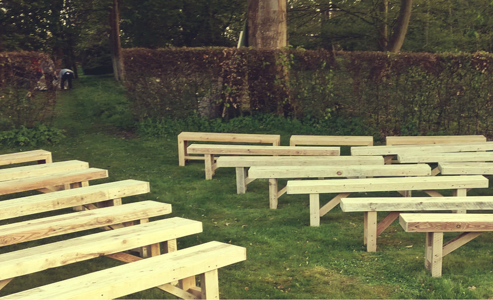 Mismatched Natural benches