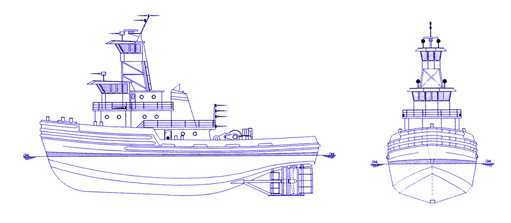 "LOA: 120' BEAM: 38'-0"" DRAFT: 17'-6"" MAX 6,000 BHP Ducted Twin Screw 120,000 Gallons Fuel"