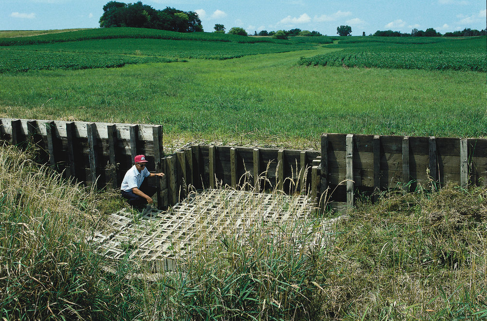 Grass water-way erosion control