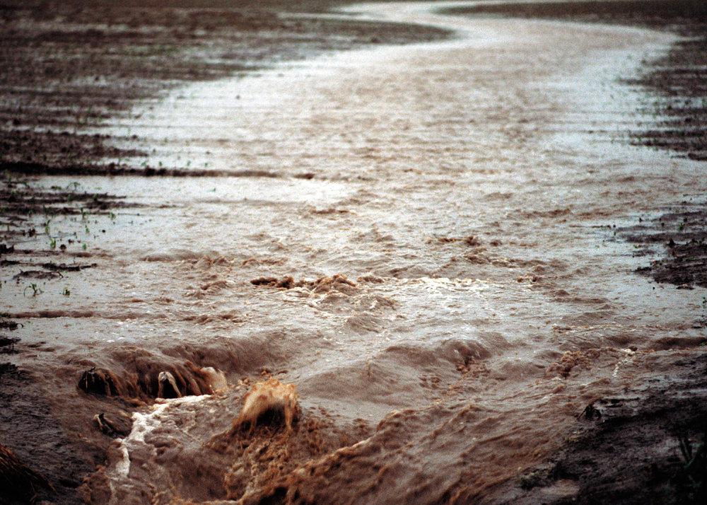Sediment runoff from farm field