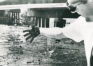 Cleveland reporter, Richard Ellers, dipping his hand in the Cuyahoga's oily soup, was surprised by its thickness.
