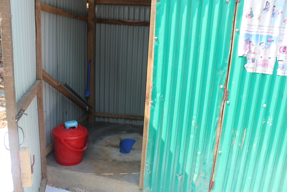 Smaller footrest slabs for children and products to keep the latrines clean.