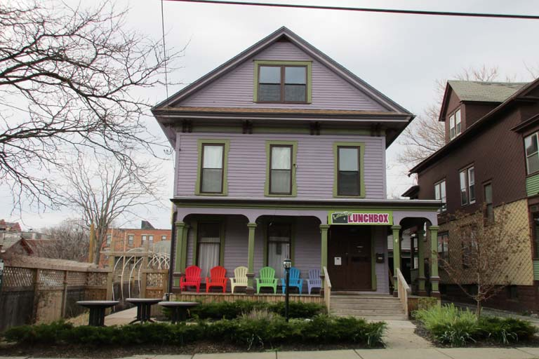 Business property for sale opportunity 115 Green Street, Cafe/Office/Restaurant contact : William P. Evertz, Real Estate Salesperson, 315-445-8520; wevertz@pyramidbrokerage.com Property Details Building totally renovated in 2013 for Laci's Lunchbox. New roof, HVAC, electrical, plumbing, grease trap, windows and equipment. First floor seats 48 plus additional patio and bar in rear outdoors. Six private rooms on 2nd floor used currently to distribute Laci's special sauce. 80 percent complete. Third floor loft is 50 percent complete. http://www.pyramidbrokerage.com/properties/listings/details/Y13868/115-green-street-syracuse-ny-laci-s-lunchbox