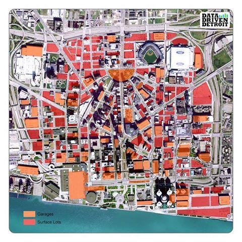 Detroit en de ruimte bestemd voor parkeren