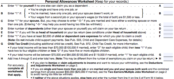 How to Fill out a W4 Climb Credit Blog – Personal Allowances Worksheet