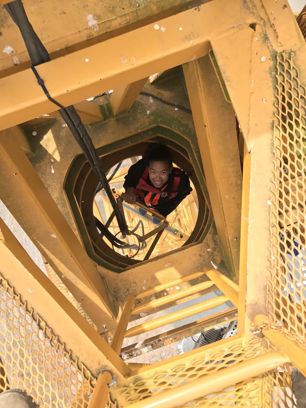 That's me climbing the 100-foot crane.