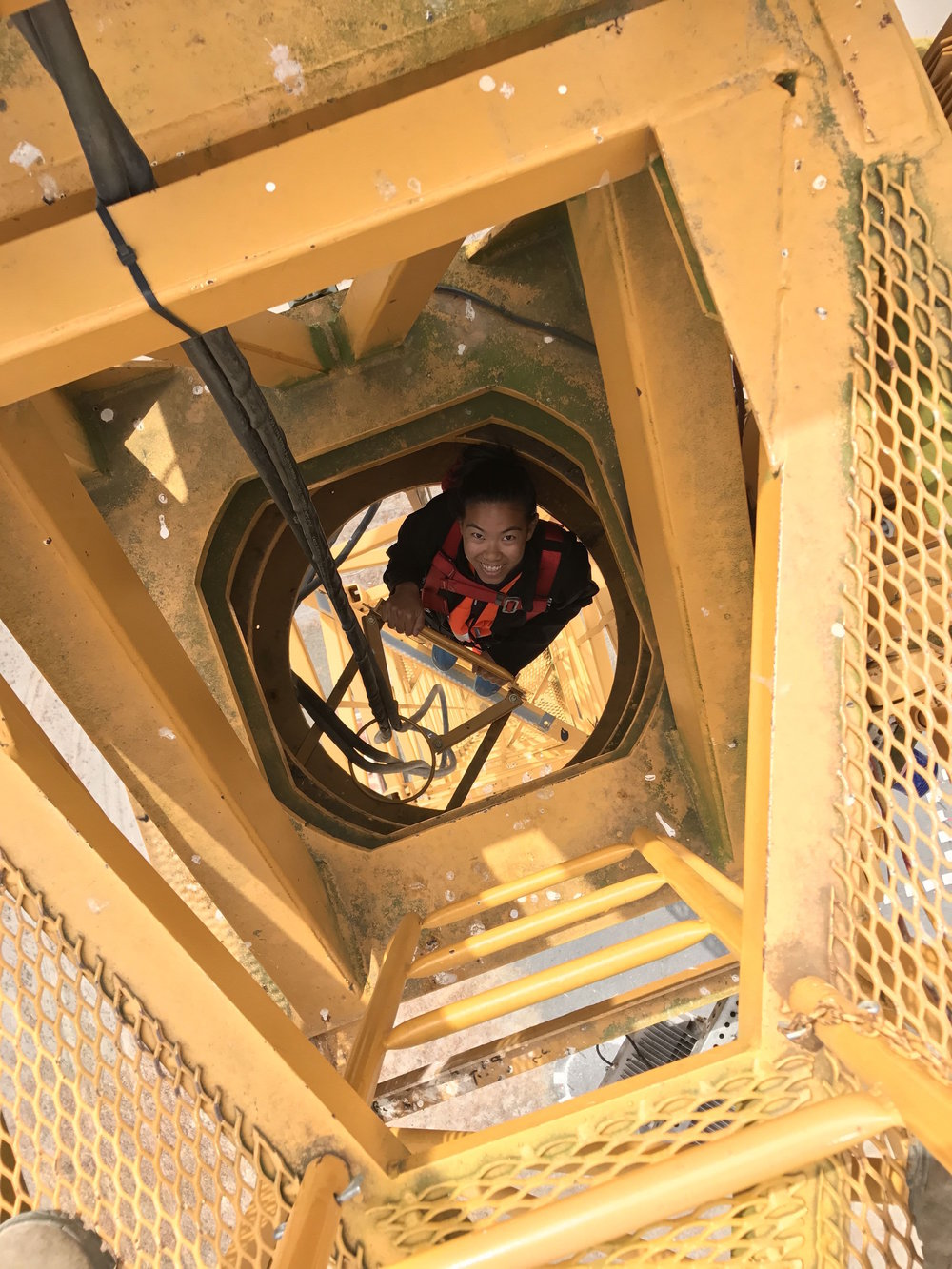 That's me climbing the 100-foot crane.