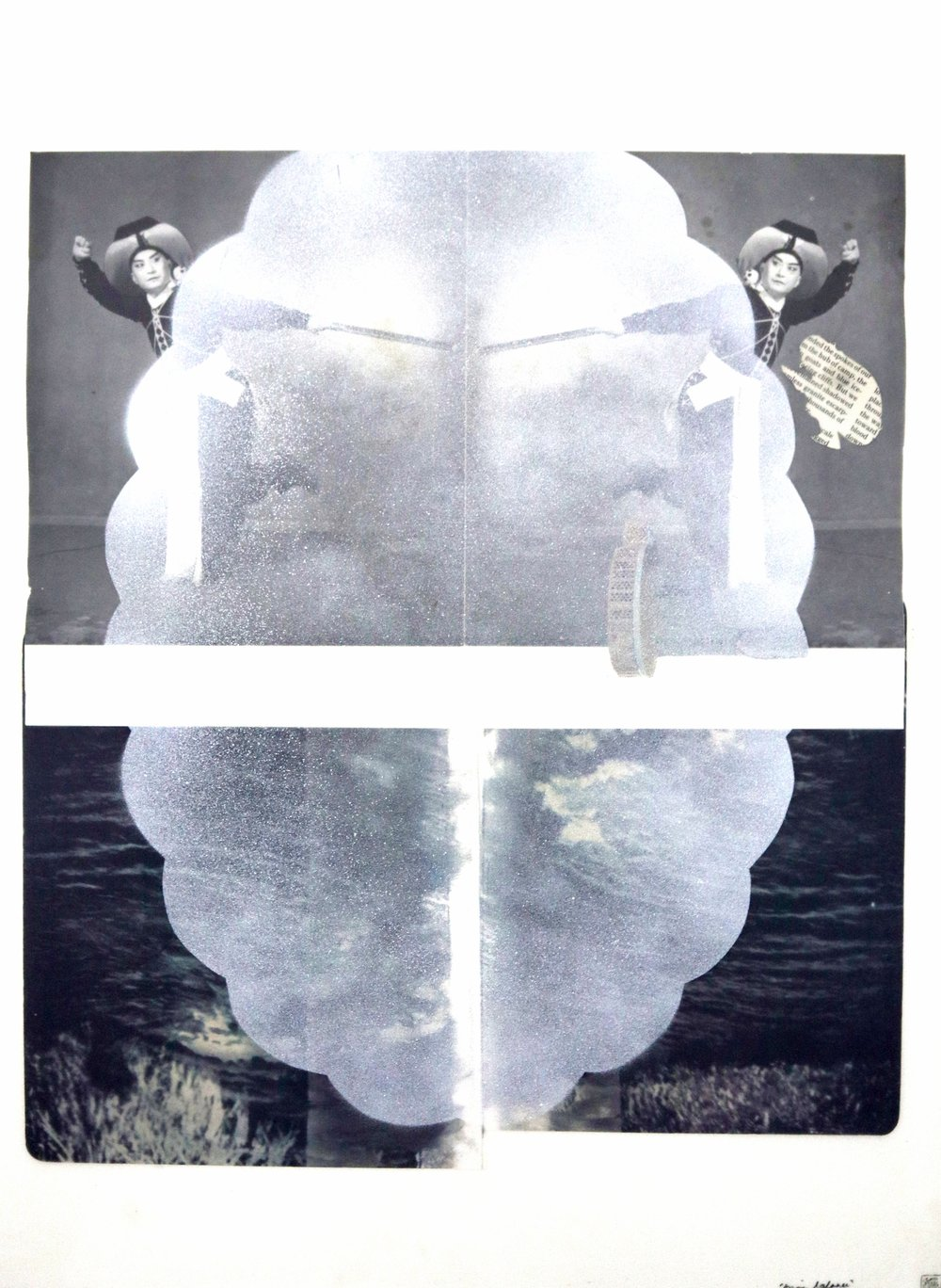 """asian balance"", collage, prints, velum, found images, spray paint, 16""x19"", 2015"