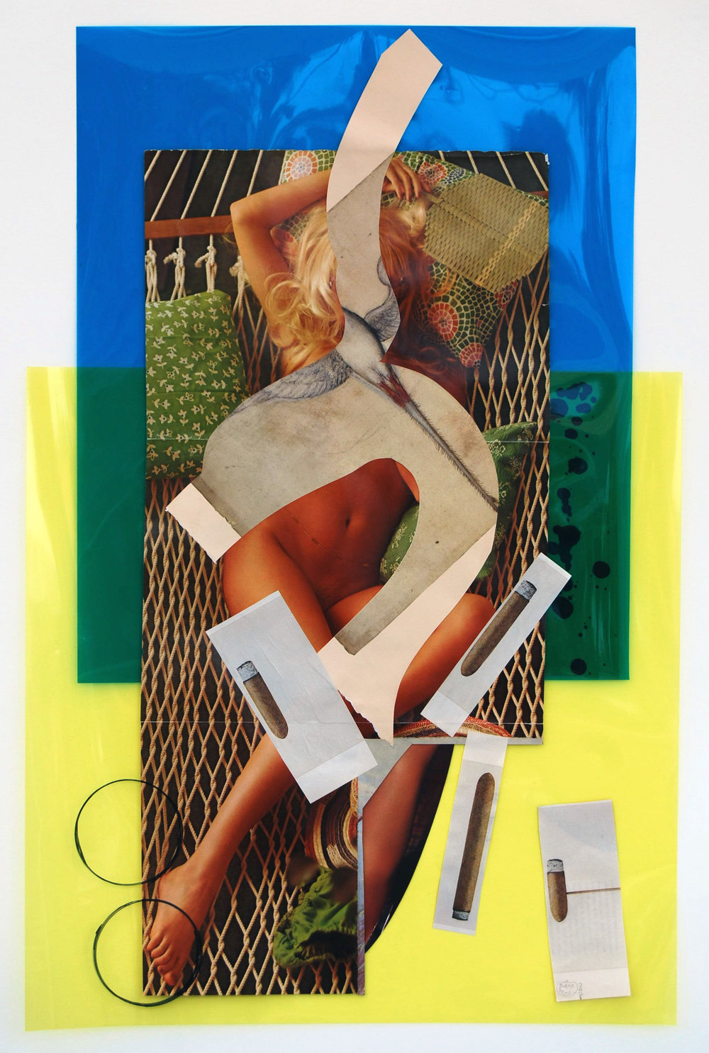 """playboynude"", collage, found images, mylar, sharpie, 19""x27"", 2015"