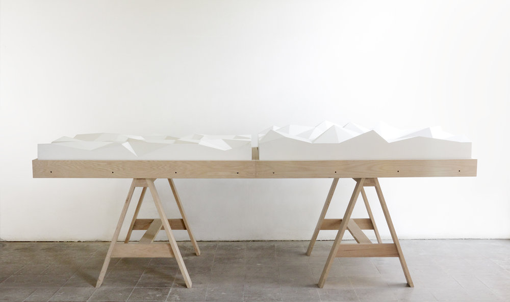 Anna,  2011  Wood, corian, Polyurethane foam, enamel painting  67 x 90 cm
