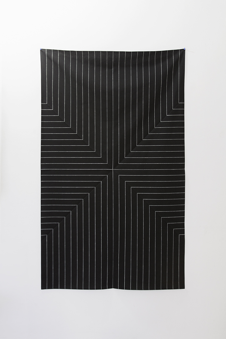 Homage to Stella (Die Fahne Hoch),  2012  Enamel paint on cotton fabric  92.5 x 154 cm