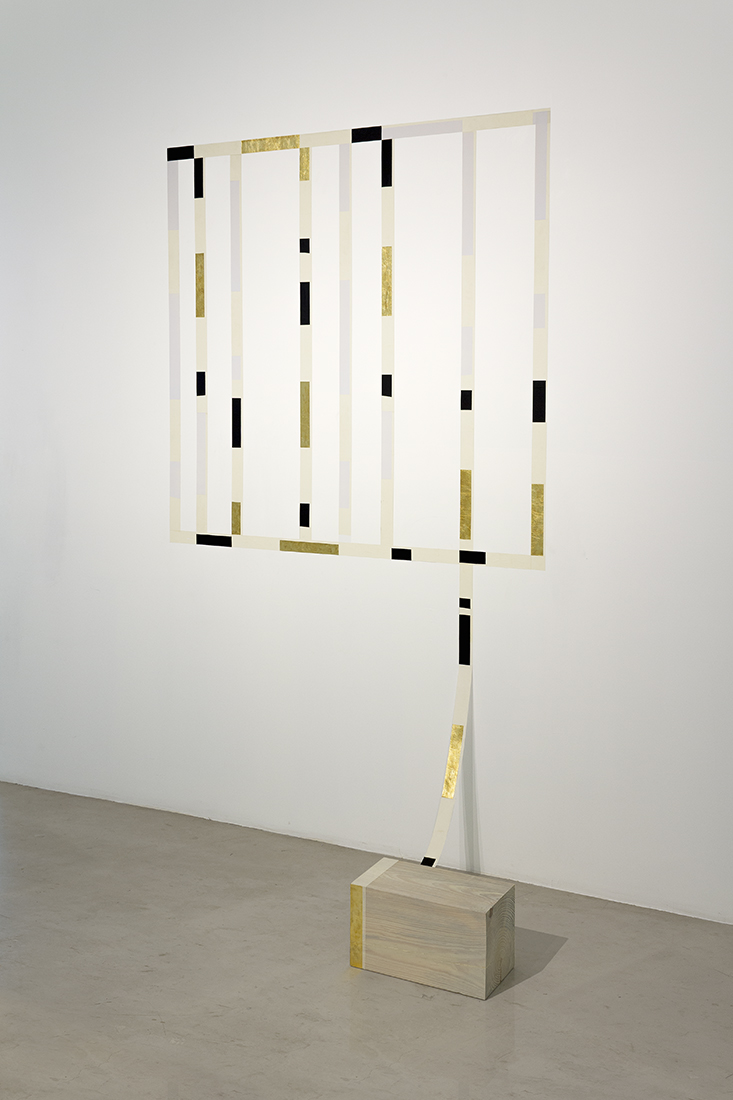 Vis a Vis (L'envelope),  2014  Wood, masking tape, enamel painting and gold leaf.  Dimensions variable