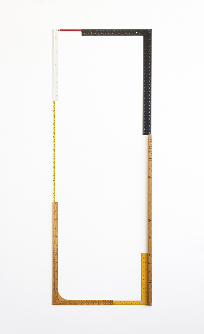 No point of reference No.7,  2015  Wood, aluminium and steel rulers  58 x 161 cm
