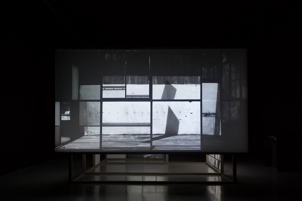 Nada más que las horas , 2013  Five channel video installation, wood, Formica and polyester screens.  300 x 425 x 220 cm.