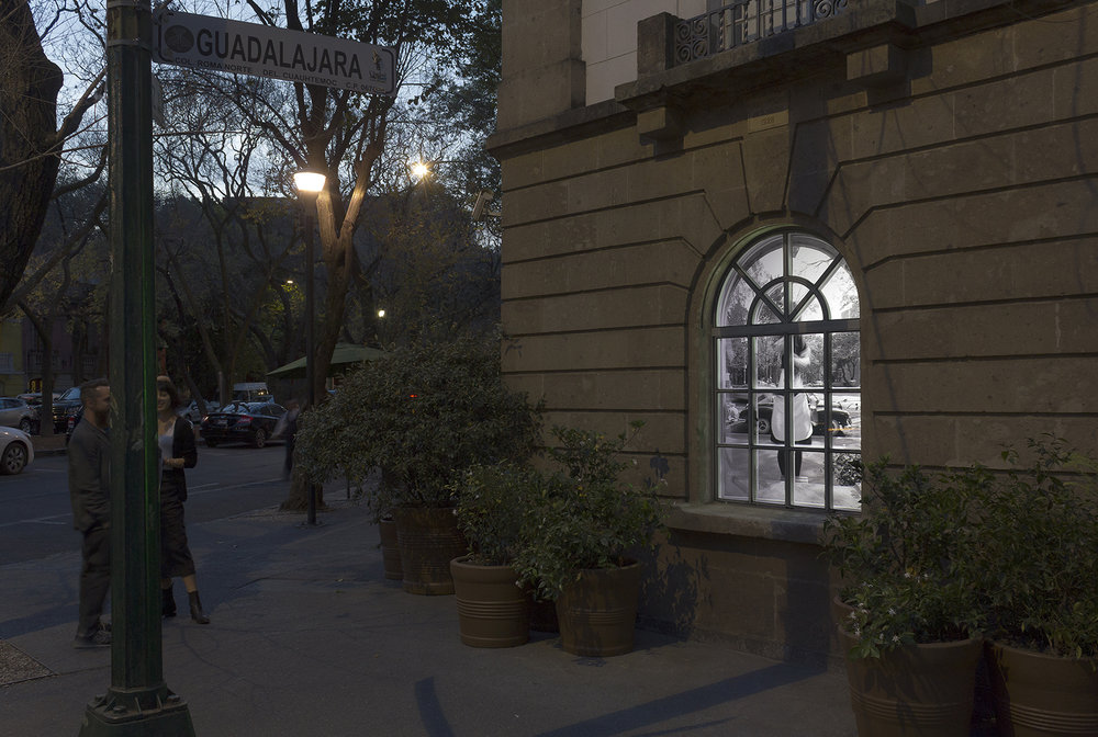 Delay,  2015 . One channel video, site specific videoinstallation at Hotel Condesa, Mexico City.