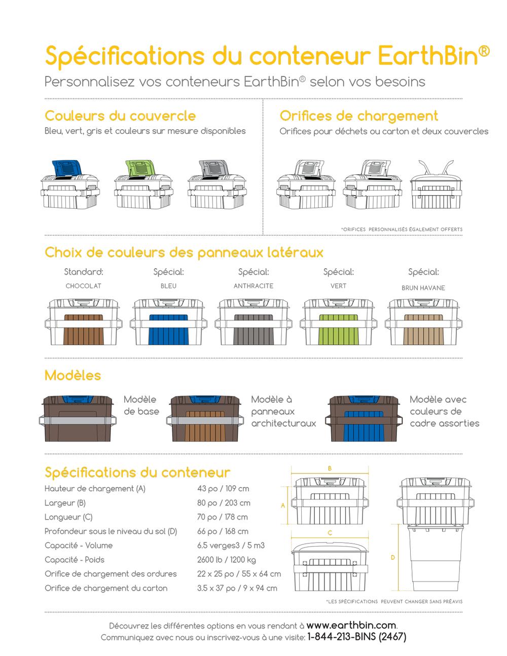 Consultez les spécifications techniques du conteneur à ordures Earthbin®