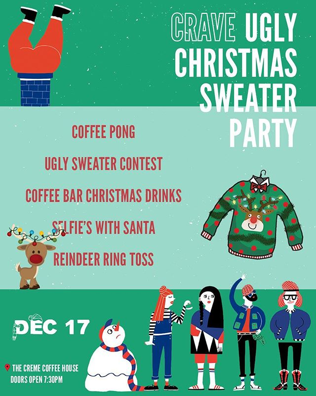 Come party with us in your ugliest of sweaters this Sunday night @cremecoffeehouse 🎄🎅🏼